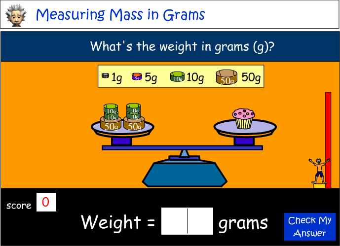 Measuring weight in grams (g)